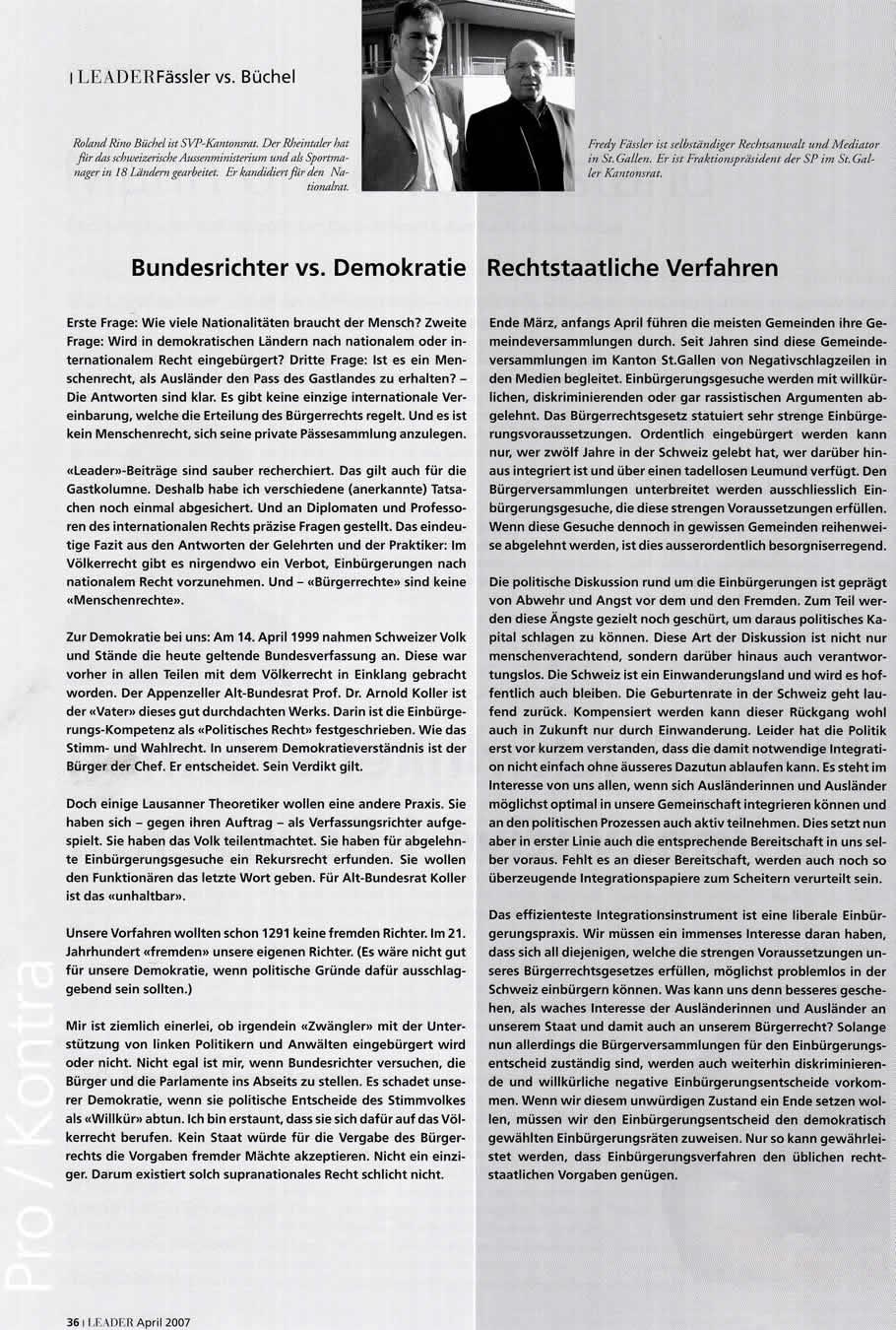 Fässler vs. Büchel - Bundesrichter vs. Demokratie