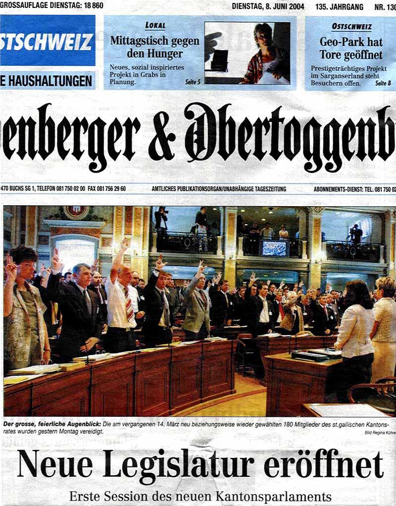 Werdenberger & Obertoggenburger: Neue Legislatur eröffnet