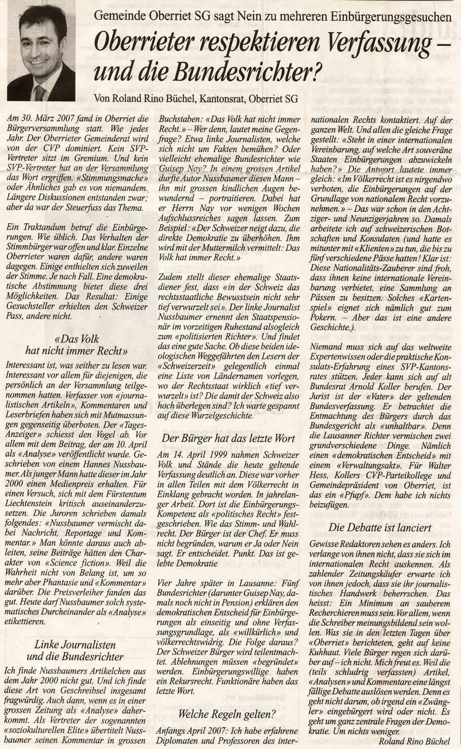 Oberrieter respektieren Verfassung - und die Bundesrichter?
