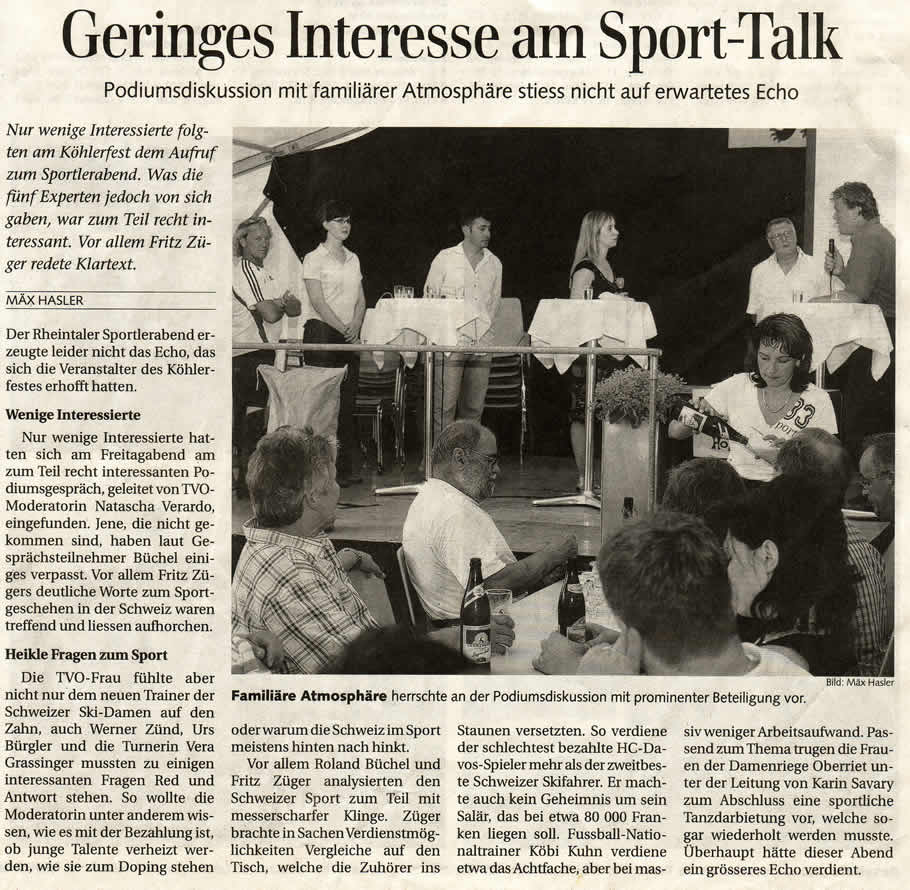 Geringes Interesse am Sport-Talk