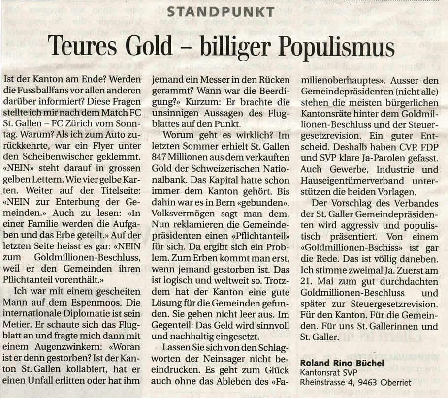 Teures Gold - billiger Populismus