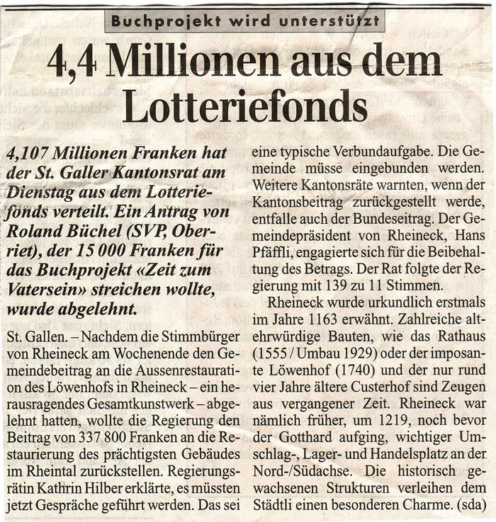4.4 Millionen aus dem Lotteriefonds