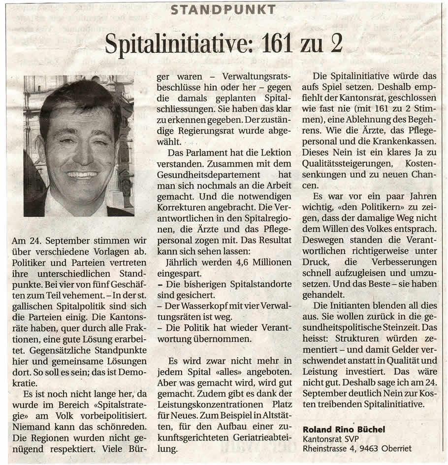 Spitalinitiative: 161 zu 2