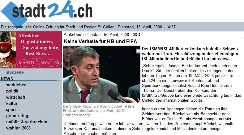 stadt24.ch - Roland Büchel zum ISMM-ISL-Milliardenkonkurs