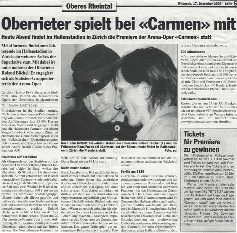 Oberrieter spielt bei Carmen mit