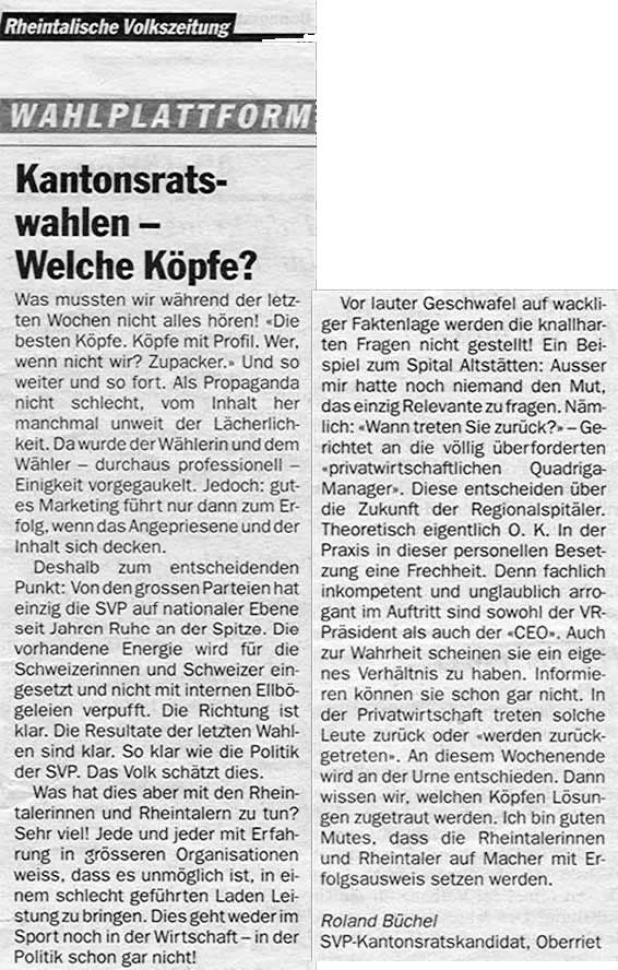 Kantonsratswahlen - Welche Köpfe?