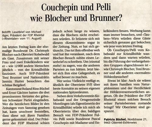 Couchepin und Pelli wie Blocher und Brunner