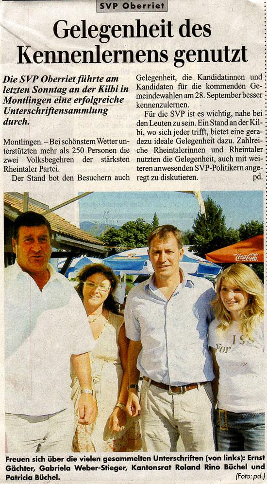 Rheintalisches Volksblatt: Gelgenenheit des Kennenlernes genutzt
