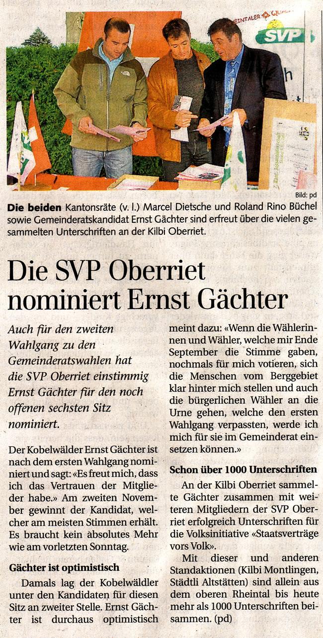 Der Rheintaler: Die SVP Oberriet nominiert Ernst Gächter