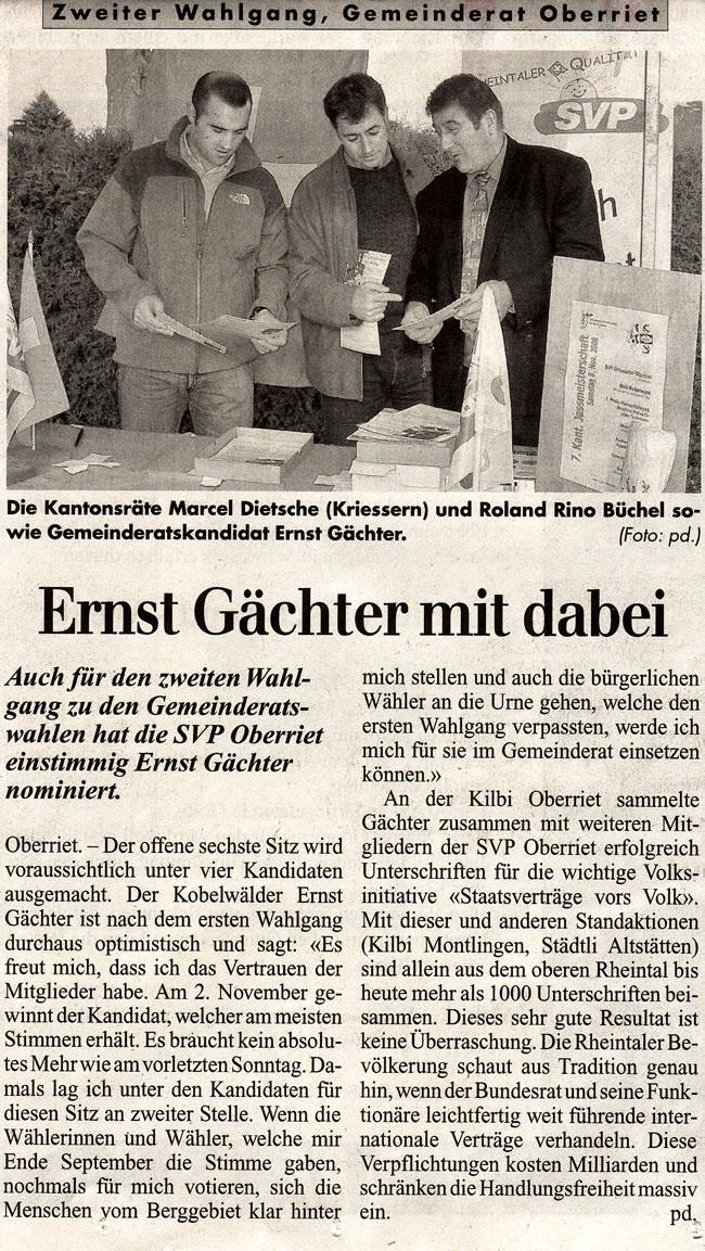 Rheintalische Volkszeitung: Zweiter Wahlgang, Gemeinderat Oberriet: Ernst Gächter mit dabei