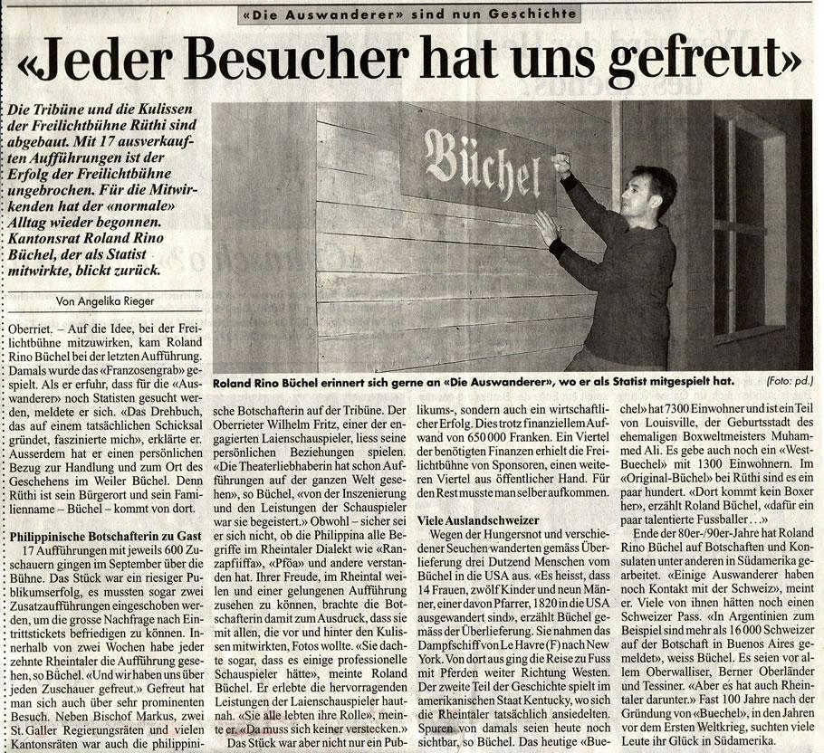 Rheintalische Volkszeitung: Jeder Besucher hat uns gefreut
