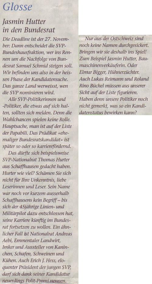 St. Galler Tagblatt: Jasmin Hutter in den Bundesrat