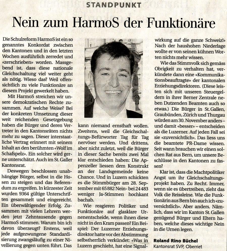 Der Rheintaler: Nein zum HarmoS der Funktionäre