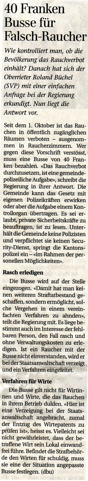 Der Rheintaler: 40 Franken Busse für Falsch-Raucher