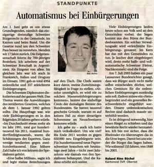 Automatismus bei Einbürgerungen