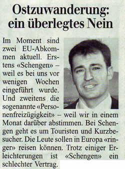 Rheintalische Volkszeitung: Ostzuwanderung - ein überlegtes Nein