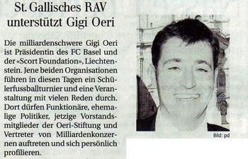 St. Gallisches RAV unterstützt Gigi Oeri