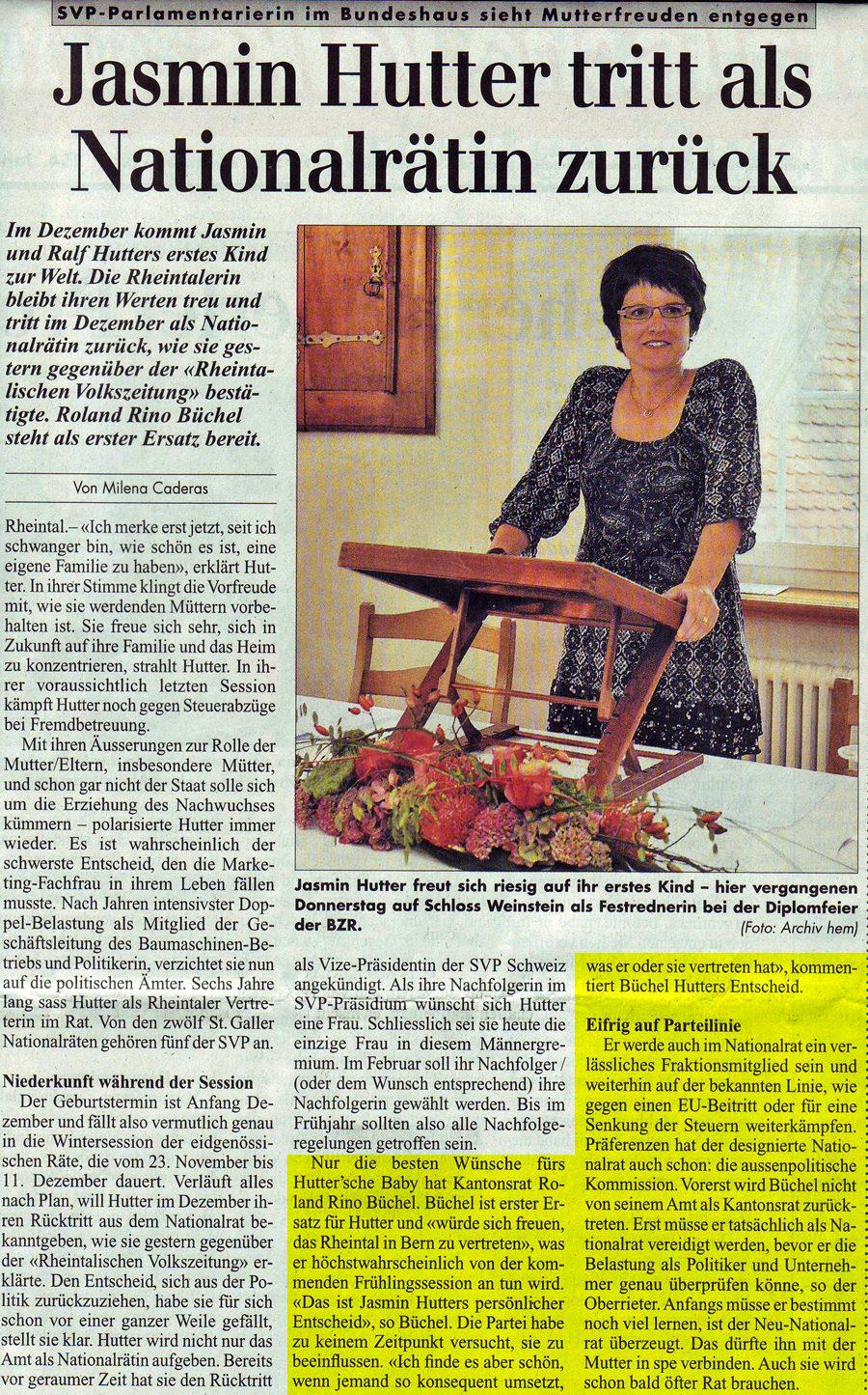 Rheintalische Volkszeitung: Jasmin Hutter tritt als Nationalrätin zurück