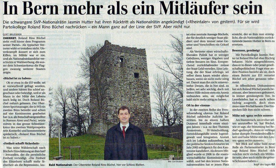 Rheintaler Tagblatt: In Bern mehr als ein Mitläufer sein