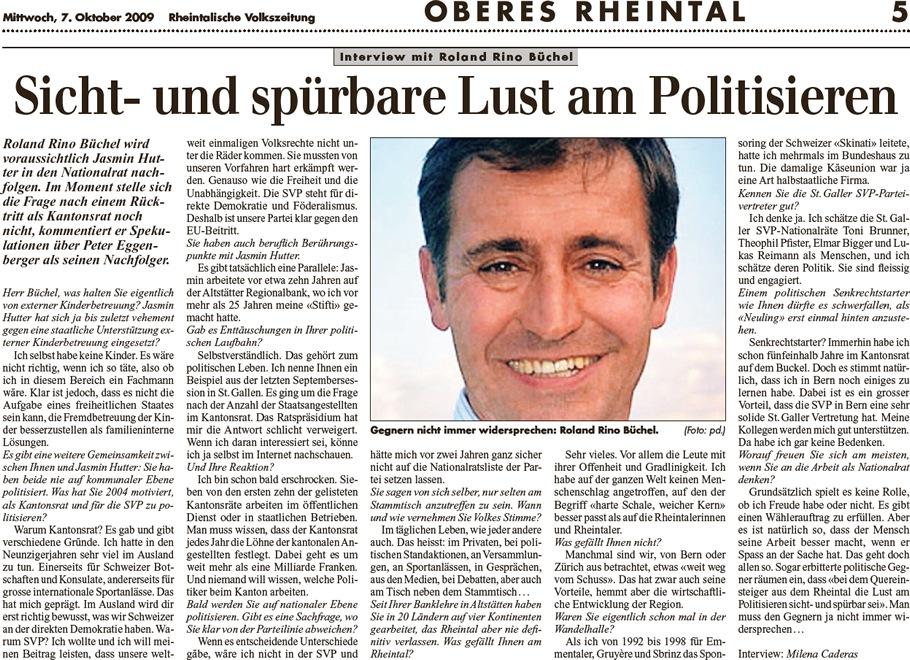 Rheintalische Volkszeitung: Sicht- und spürbare Lust am Politisieren