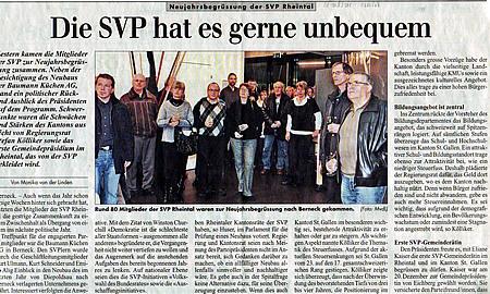 Rheintalische Volkszeitung: Die SVP hat es gerne unbequem