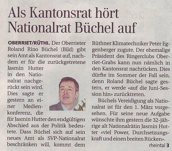 Als Kantonsrat hört Nationalrat Büchel auf