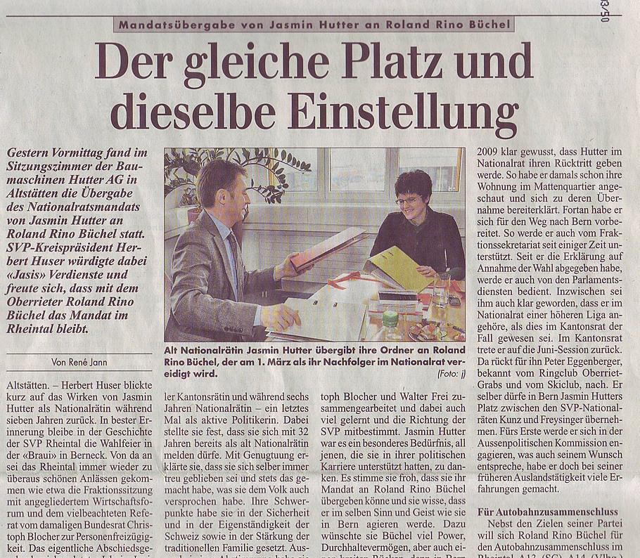 Rheintalische Volkszeitung: Der gleiche Platz und dieselbe Einstellung