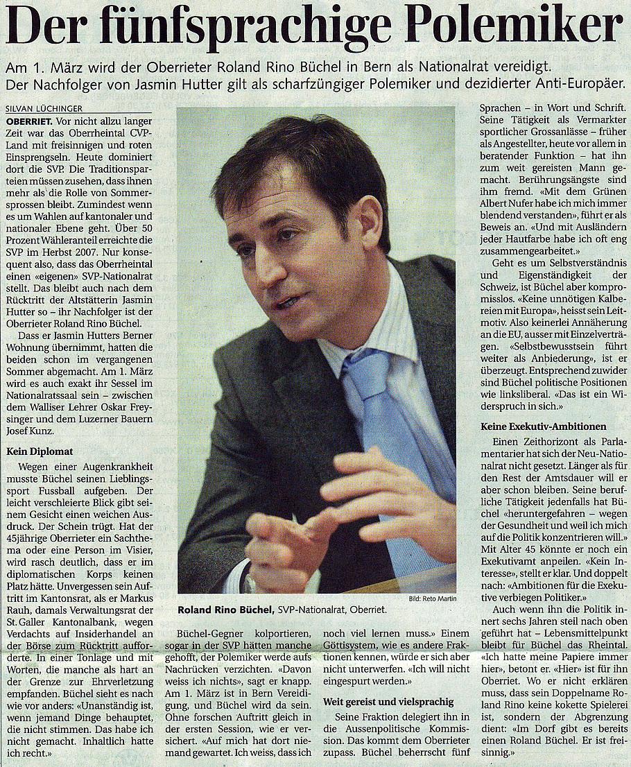 St. Galler Tagblatt: Der fünfsprachige Polemiker