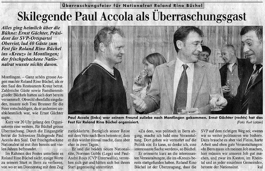 Rheintalische Voklszeitung: Skilegende Paul als Überraschungsgast