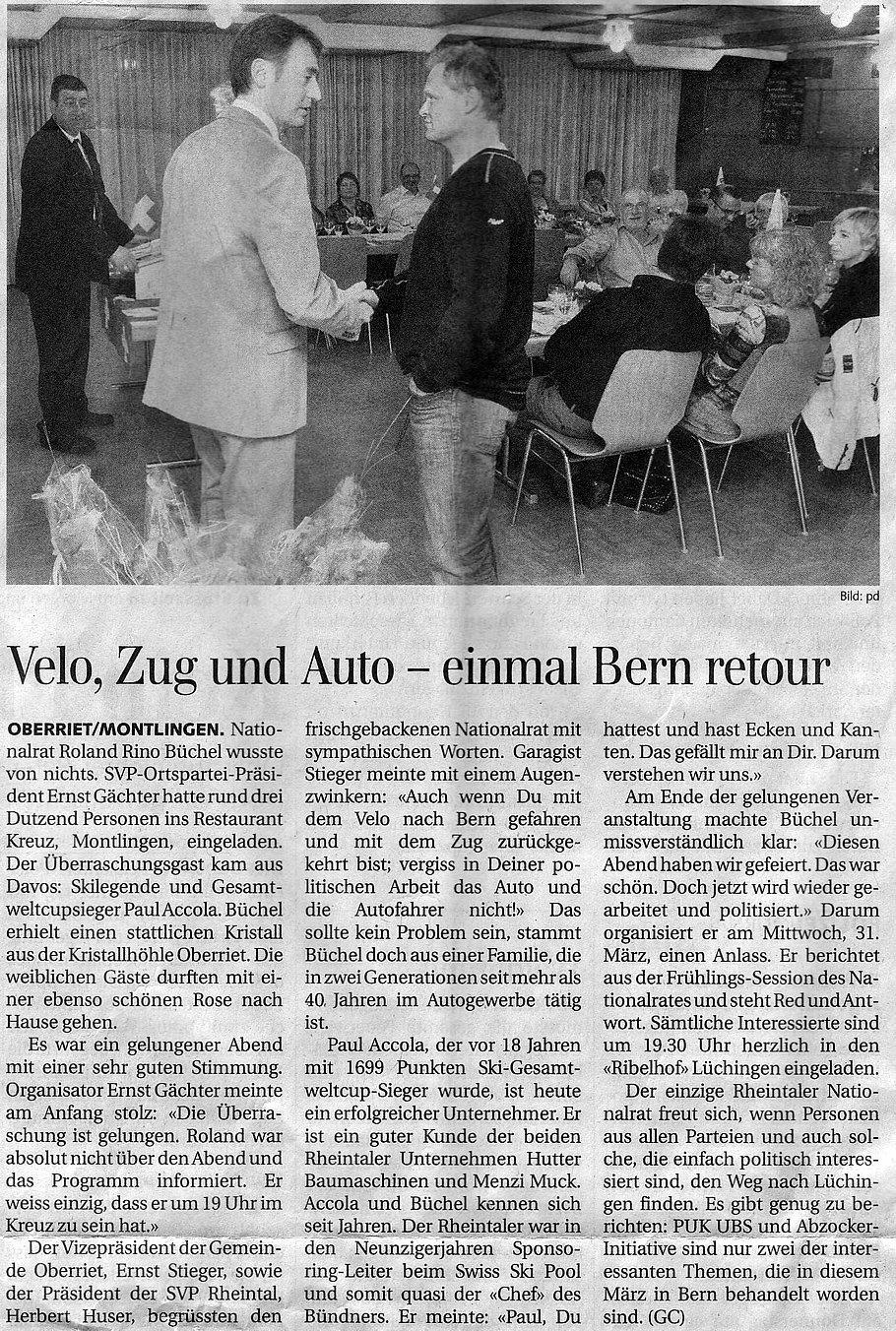 Der Rheintaler: Velo, Zug und Auto - einmal Bern retour
