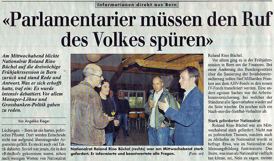 Rheintalische Volkszeitung: Parlamentarier müssen den Ruf des Volkes spüren