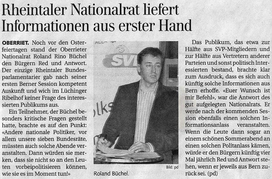 Der Rheintaler: Rheintaler Nationalrat liefert Informationen aus erster Hand
