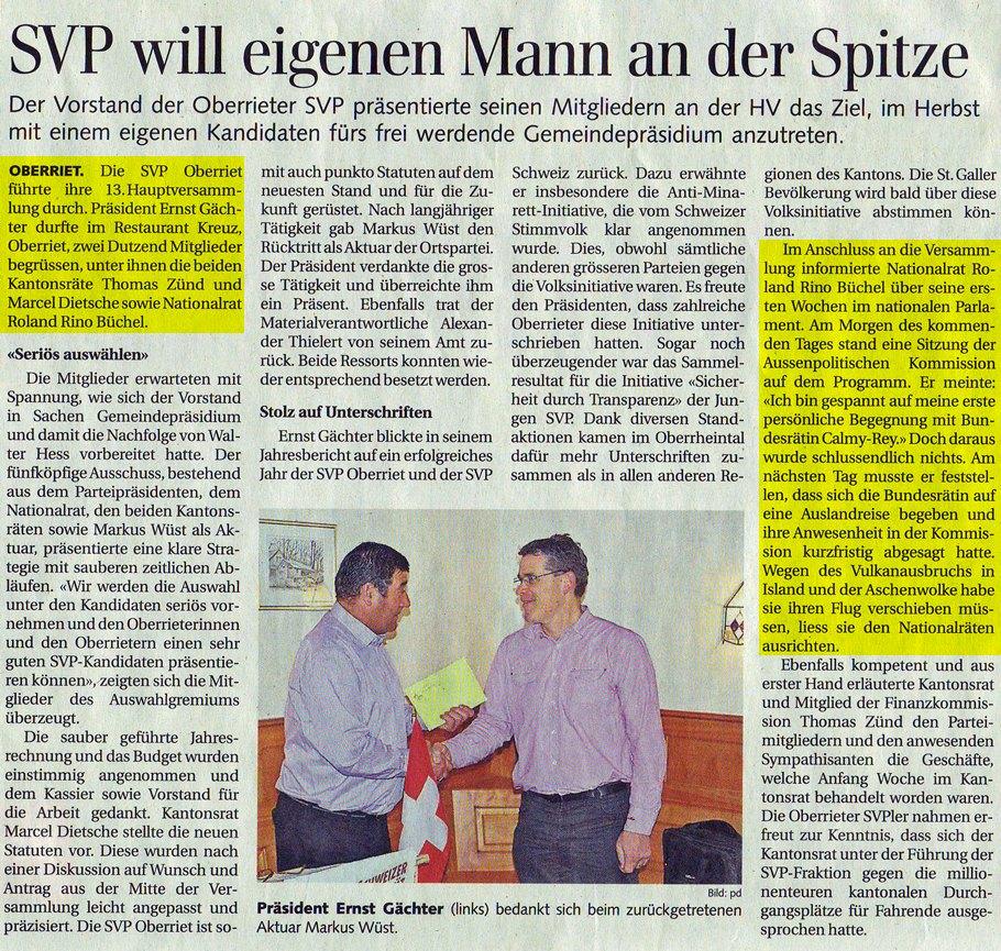 Der Rheintaler: SVP will eigenen Mann an der Spitze