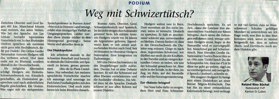 St. Galler Tagblatt: Weg mit Schwizertütsch?