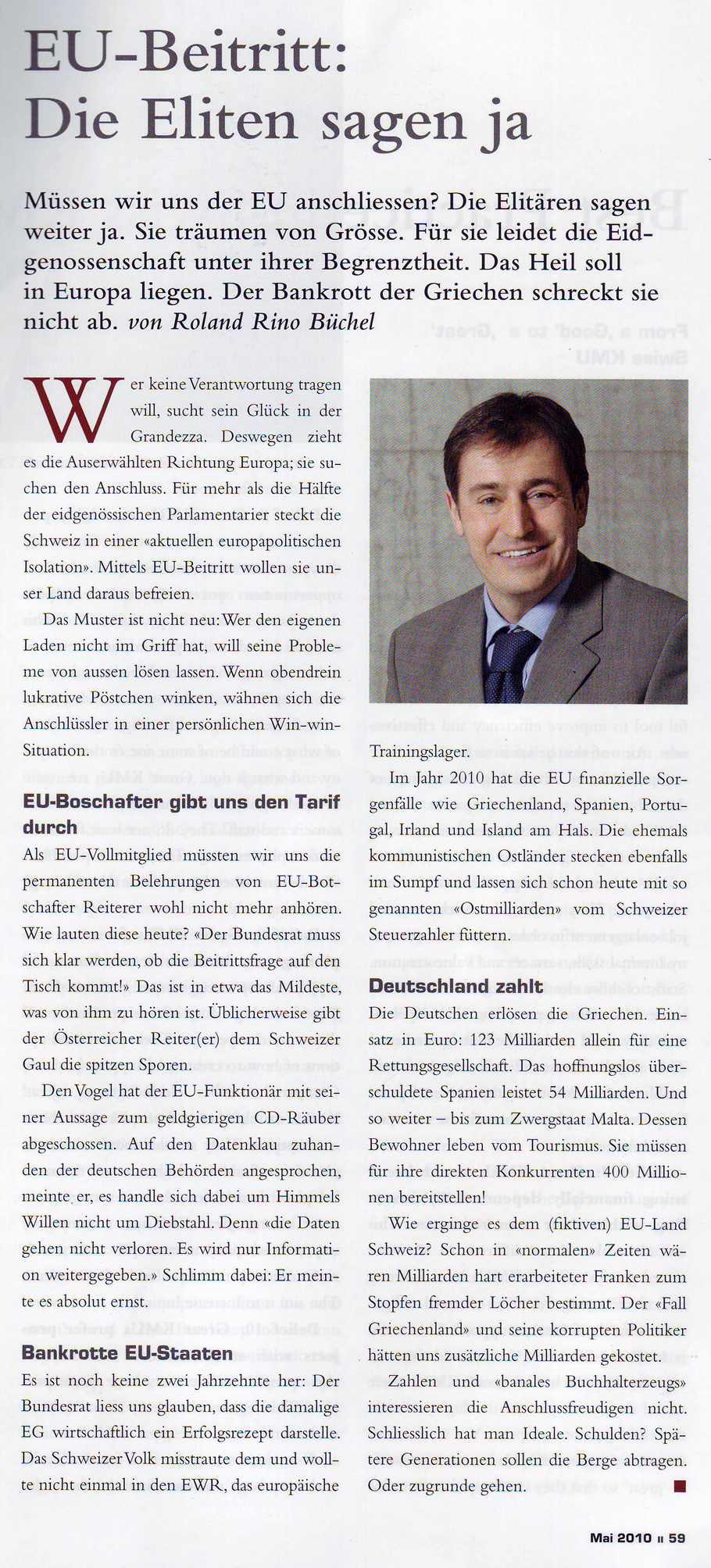 Unternehmermagazin LEADER: EU-Beitritt- Die Elitären sagen weiter ja
