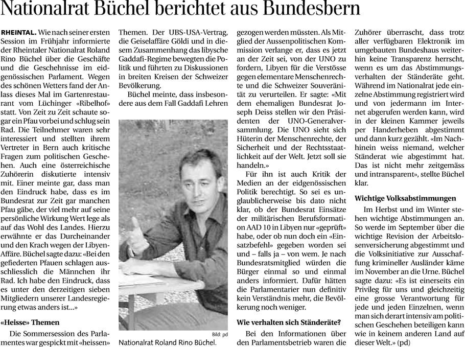 Der Rheintaler: Nationalrat Büchel berichtet aus Bundesbern