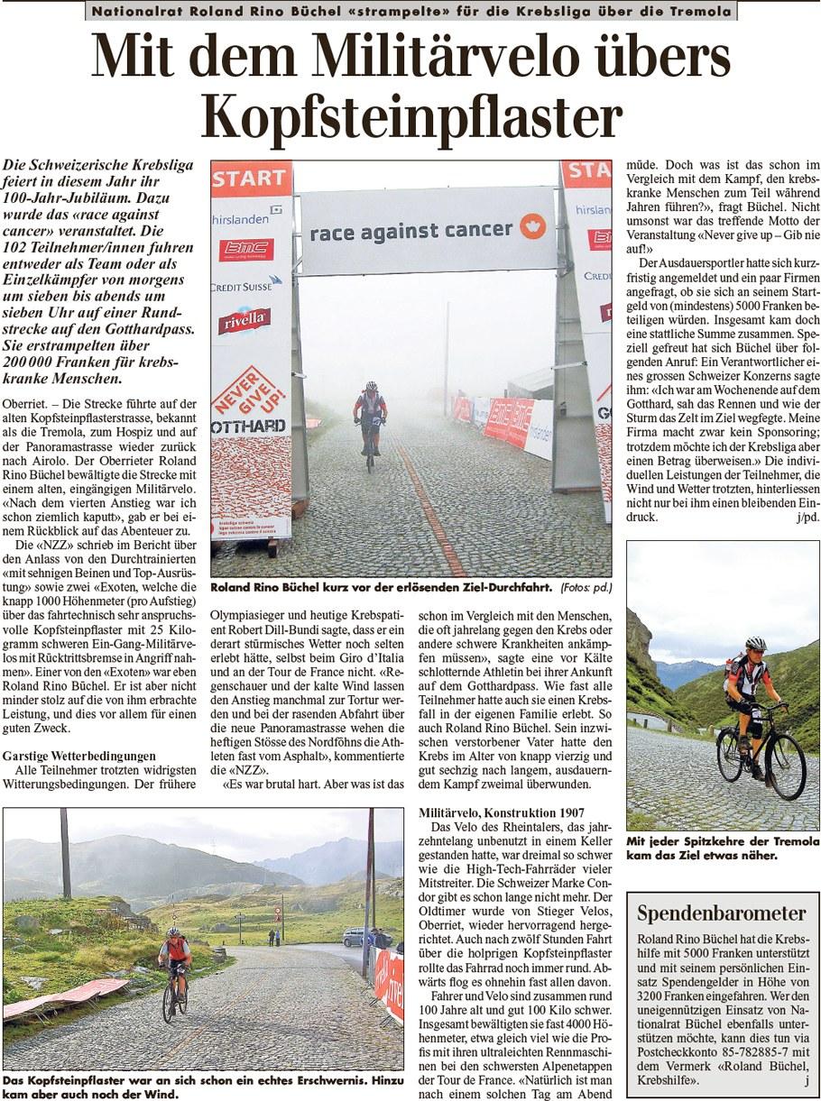 Rheintalische Volkszeitung: Mit dem Militärvelo übers Kopfsteinpflaster