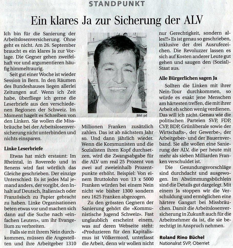 Der Rheintaler: Ein klares Ja zur Sicherung der ALV