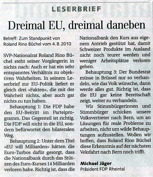 Der Rheintaler: Dreimal EU, Dreimal daneben