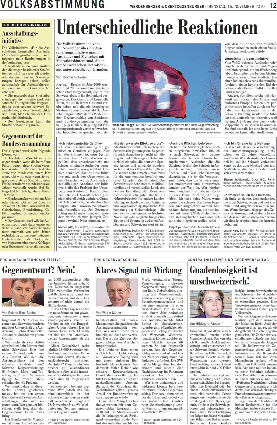 Rheintalische Volkszeitung: Gegenvorschlag? Nein!