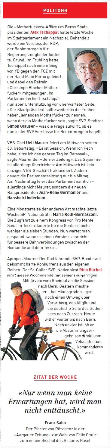Roland Rino Büchel mit dem Militärvelo vom Rheintal an die Session nach Bern