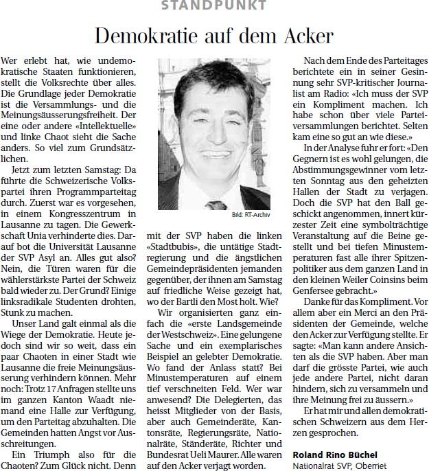 Der Rheintaler: Demokratie auf dem Acker