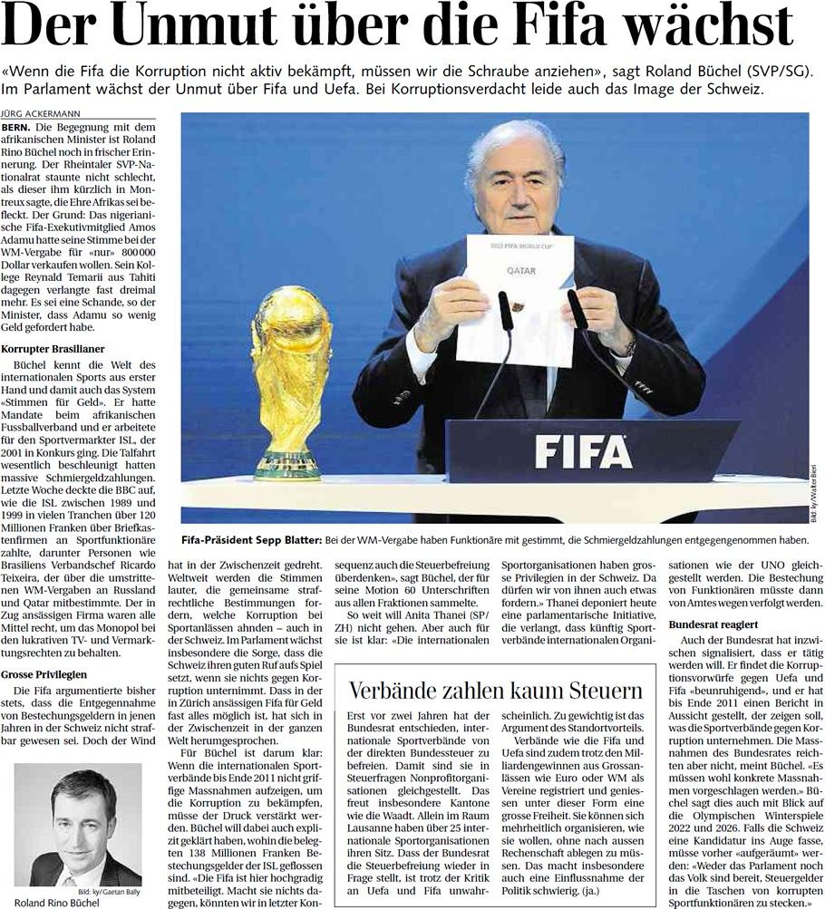 St. Galler Tagblatt: Unmut über die Fifa wächst
