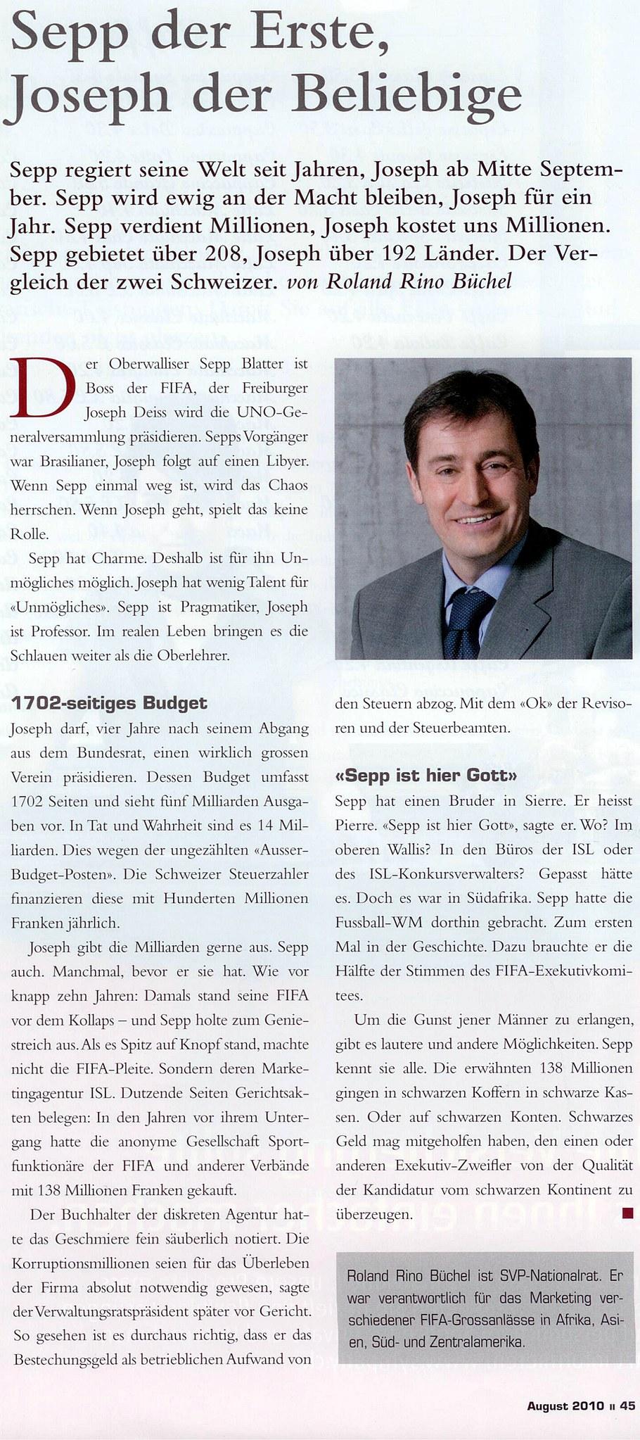 Unternehmermagazin LEADER: Sepp der Erste, Joseph der Beliebige