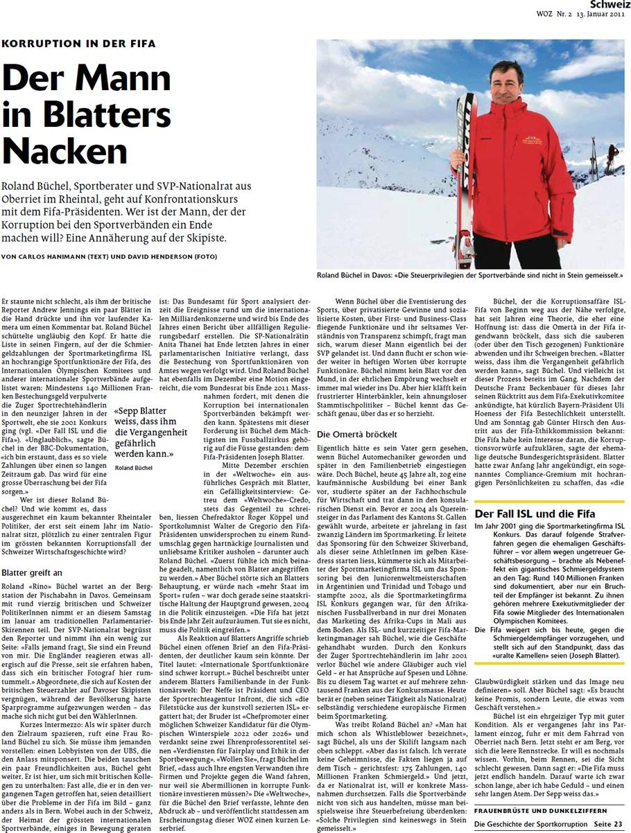 Die Wochenzeitung: Der Mann in Blatters Nacken