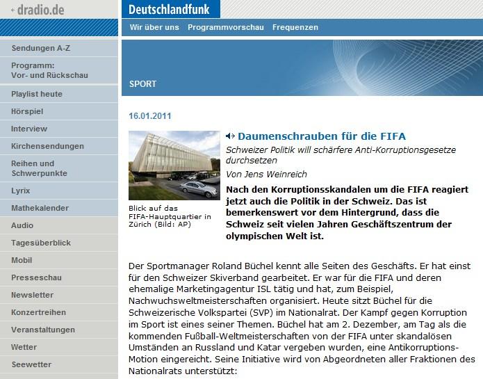 Deutschlandfunk: Daumenschrauben für die FIFA