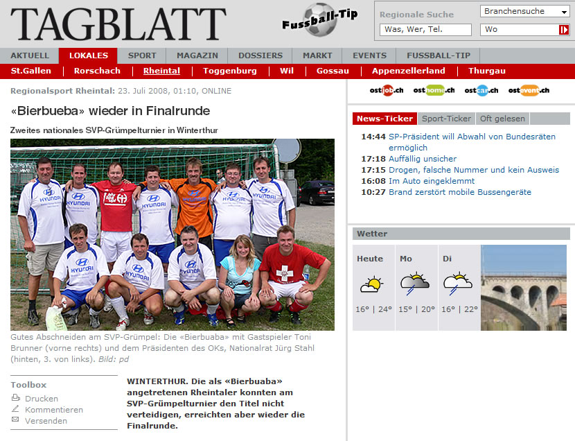 St. Galler Tagblatt: Bierbueba wieder in Finalrunde