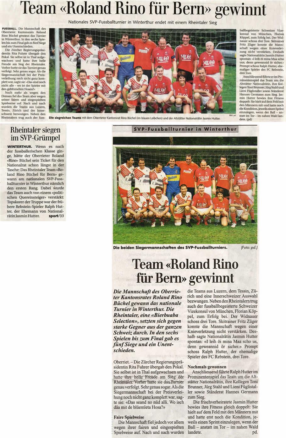 Team Roland Rino für Bern gewinnt