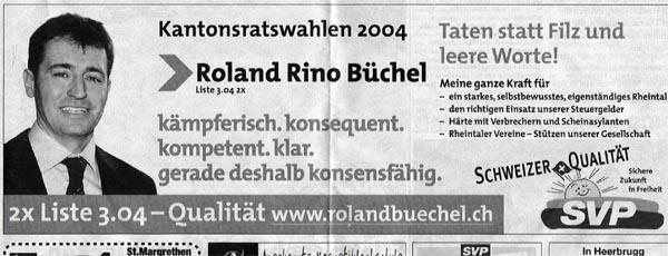 Inserat zu den Kantonsratswahlen 2004