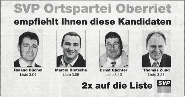 Inserat der SVP Oberriet zur Wahlempfehlung